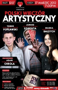 Polski Wieczór Artystyczny, 17 Marzec 2012, 7pm, Wallington, NJ